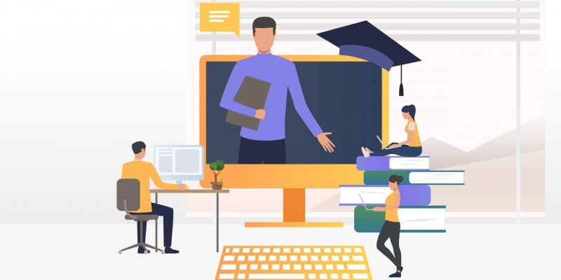 People using computers and studying at online school. Service, literature, study concept. Vector illustration can be used for topics like knowledge, education, online school